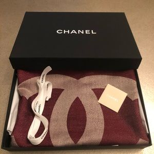 Chanel cashmere and silk long wrap scarf